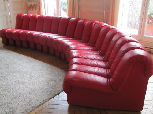 Canapé DS600, cuir rouge, 17 éléments - De Sede