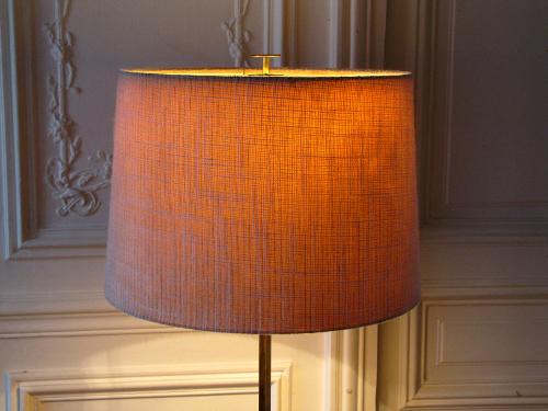 Lampadaire laiton, abat-jour tweed, années 60,
